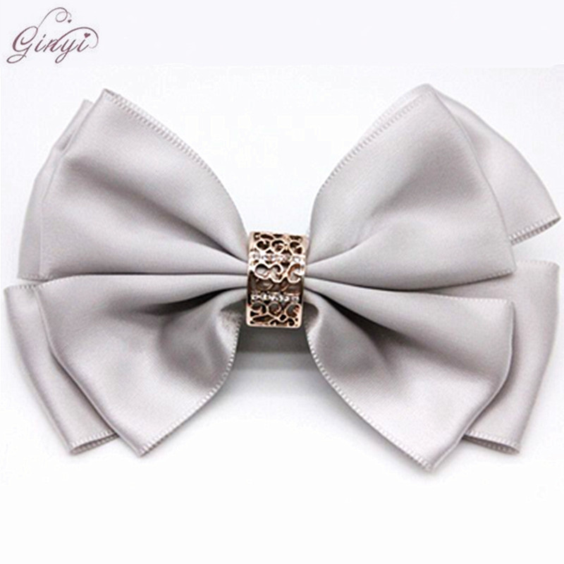 Bulk Satin Ribbon Hair Bow Rhinestone Alligator Clips Hairpins GYHB-5004
