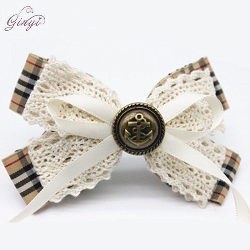 Handmade Wholesale Grid Lace Ribbon Hair Bow Alligator Clips GYHB-5001
