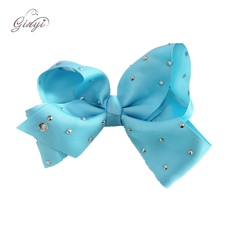6 Inch Wholesale Size Grosgrain Ribbon Rhinestone Clips Hair Bows GYHB-5006
