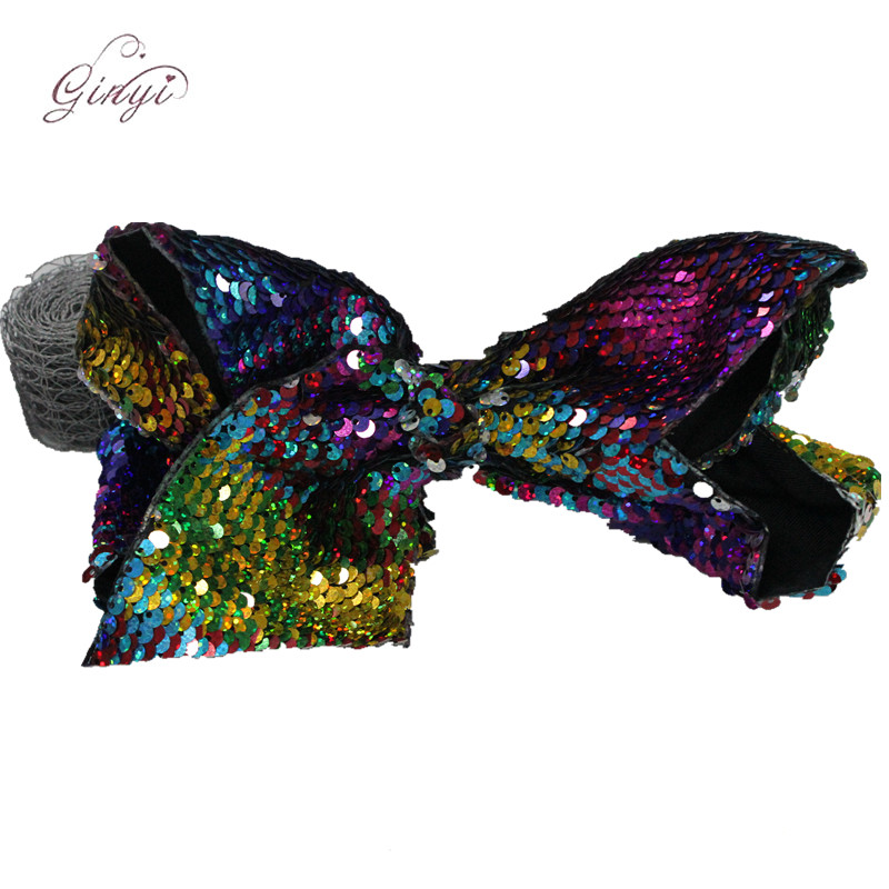 8 Inch Glitter Ribbon Scale Laser Sequin Hair Clips Hair Bows GYHB-5007