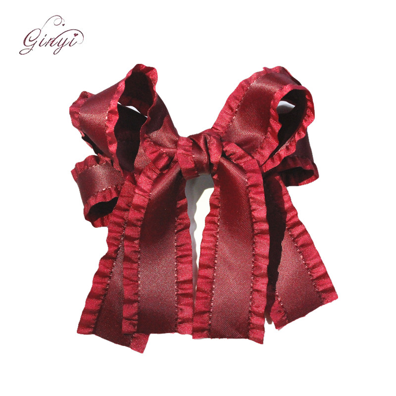 Fashion Custom Ruffle Ribbon Swallow Bows Hair Clips Hairgrips GYHB-5101